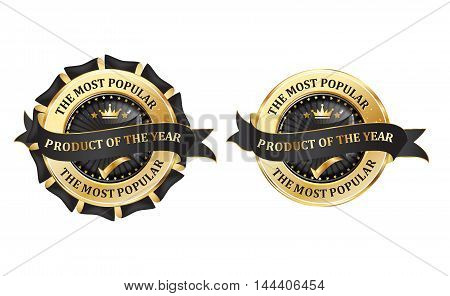 Most popular product of the Year - set of elegant icons / labels / ribbons for retail business.