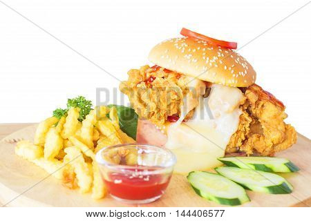 Hamburgers on a wooden board isolated white background