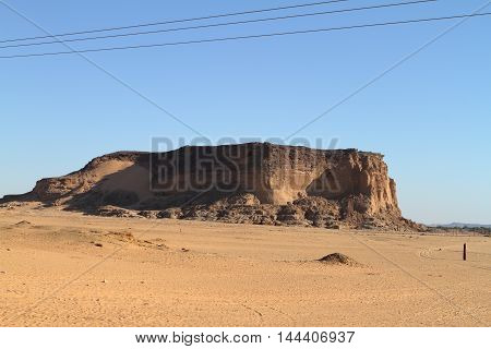 The mountain of  Jebel Barkal in the Sahara of Sudan