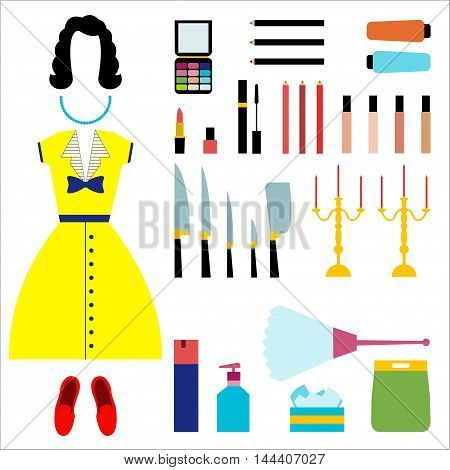 Housewife Vector illustration Set housewife: cosmetics clothing household products knife set and chandelier