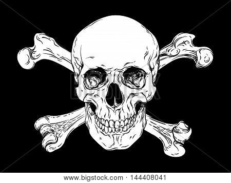 Human skull with crossbones vector. Jolly Roger logo template t-shirt design. Pirate concept illustration