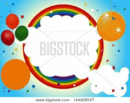 Blank Kids Party Invite with Disco Ball Balloons Rainbow and Confetti