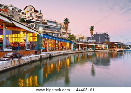 ATHENS, GREECE - AUGUST 25, 2016: Evening in Mikrolimano marina in Athens, Greece on August 25, 2016.