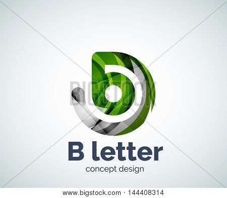 Vector B letter concept logo template, abstract business icon