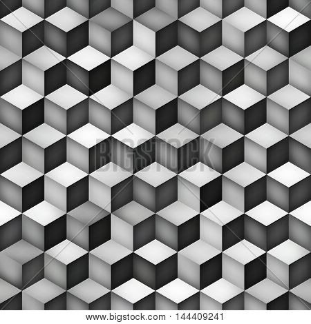 Vector Seamless Greyscale Gradient Cube Shape Rhombus Grid Pattern. Abstract Geometric Background Design