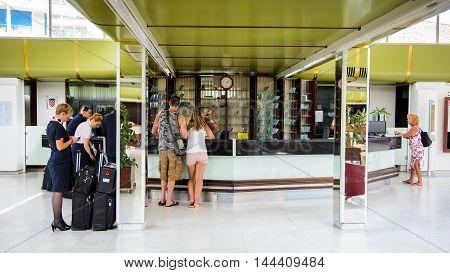SEGET DONJI, CROATIA - AUG 20, 2014: Reception in Hotel Medena in Croatia. Hotel Medena is located 150m from the Adriatic Sea Coast and has 630 rooms