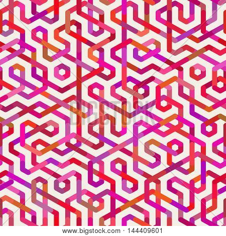 Vector Seamless Multicolor Irregular Lines Pattern. Abstract Geometric Background Design