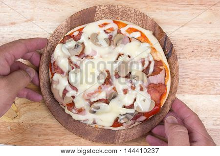Pizza on plate (after baked) / cooking Pizza concept