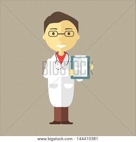 Doctor man with stethoscope holding medical notepad. Vector illustration flat style.