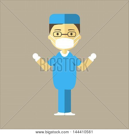 Male surgeon ready for surgery. Man doctor in uniform, mask and sterile gloves. Clinic of plastic surgery concept. Vector illustration flat design.