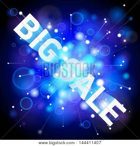 Big Sale. Abstract blue lights background, space wallpaper, big bang, vector design art