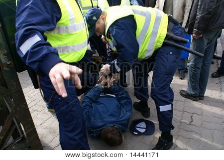 Police officers arrest people near Bronze Soldier in Tallinn Estonia  26.04.07
