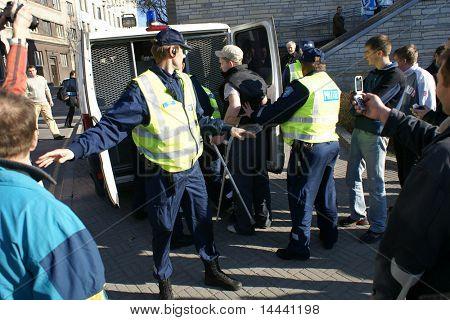 Police officers arrest people near Bronze Soldier in Tallinn Estonia  26.04.07