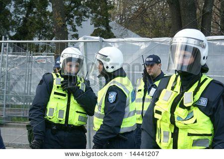 Police officers  near Bronze Soldier in Tallinn Estonia  26.04.07