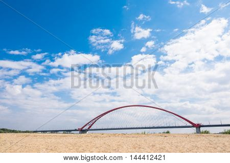The Red Bridge In Novosibirsk City