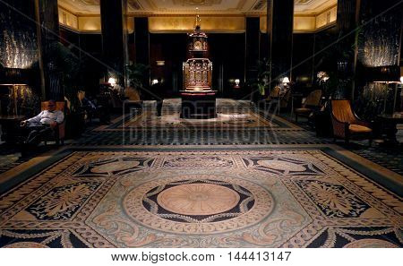 NEW YORK UNITED STATES. AUGUST 24TH 2016. Waldorf Astoria clock in reception Waldorf Astoria Hotel Park Avenue Manhattan
