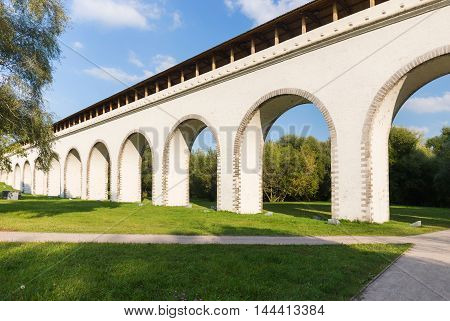 Rostokino Aqueduct in Moscow with footpathes, Russia