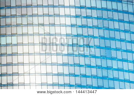 Fragment of the glass facade in the business building