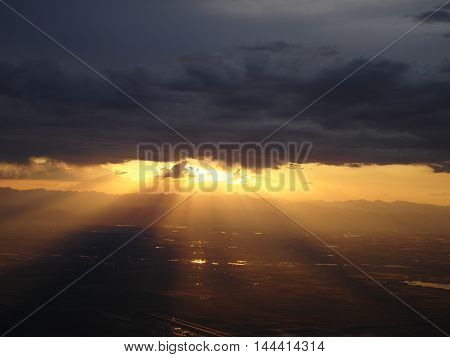 Stormy Sunset outside DIA Airport Denver Colorado