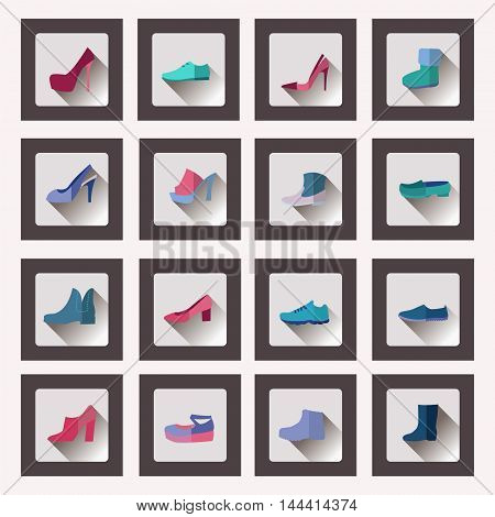 Vector flat style collection women and men shoes set Footwear flat icons for four seasons . Fashion modern design illustration