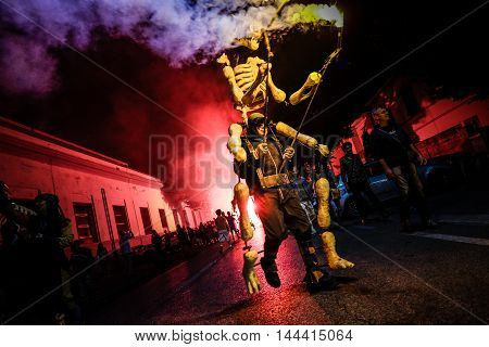 Pontedera Italy - July 14 2016: The Avalot Fire show in Viale Rinaldo Piaggio in Pontedera Tuscany at the Portuguese association Centrum Sete Sois Sete Luas