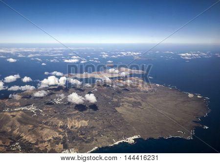 Aerial Of South Lanzarote With Island La Graciosa, Village Of Haria And  Coastline