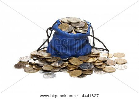 Bag for coins isolated on white background