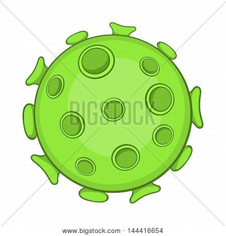 Bacteria or virus icon in cartoon style on a white background