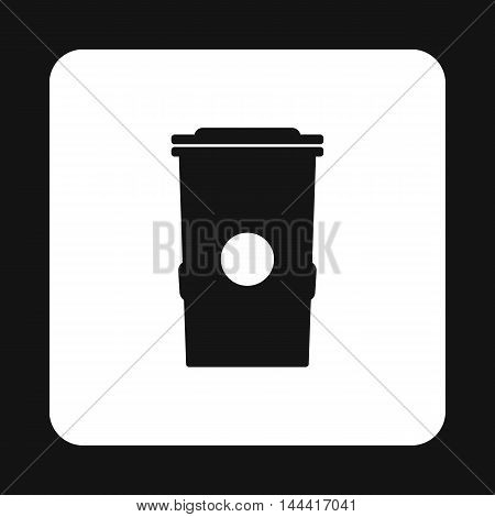 Plastic trash can icon in simple style isolated on white background. Sanitation symbol