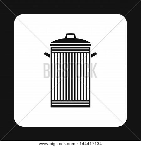 Trash can with lid icon in simple style isolated on white background. Sanitation symbol