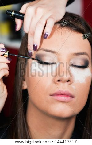 Professional make-up artist applying eyeliner, toned image