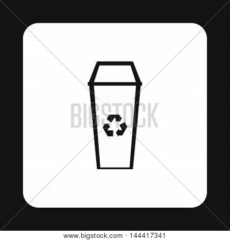Open trash can icon in simple style isolated on white background. Sanitation symbol