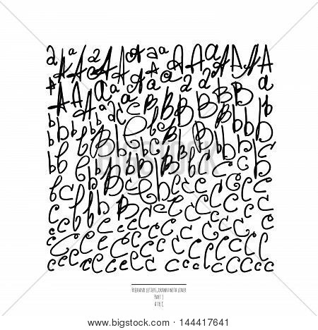 Large vector set of hand drawn with black liner letters isolated on white background. Part 1 includes letter A letter B and letter C. Collection of freehand letters in different shapes and styles