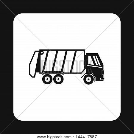 Garbage truck icon in simple style isolated on white background. Sanitation symbol