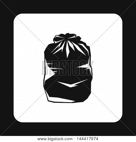 Black trash bag icon in simple style isolated on white background. Garbage symbol