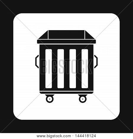 Dumpster on wheels icon in simple style isolated on white background. Garbage symbol