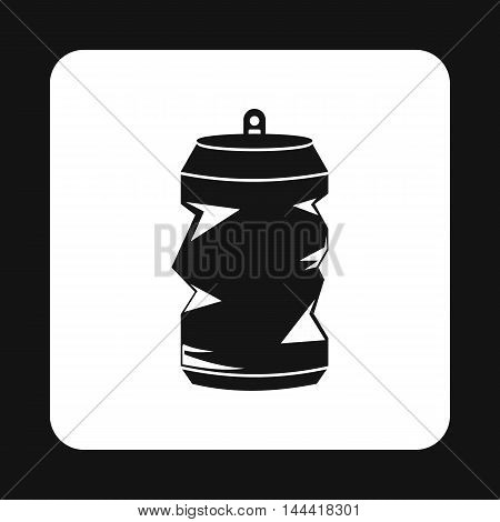 Crumpled aluminum cans icon in simple style isolated on white background. Waste symbol