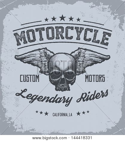 Vintage Road king t-shirt graphic with wings. Design of the vector typographic of t-shirts and for other uses. Vector illustration.