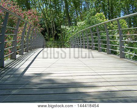 Bridge in the garden and vegetation details (Tomar - Portugal)