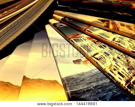 Pile of glossy notebooks with bright pictures