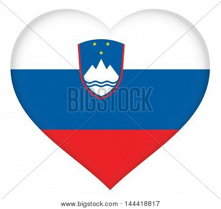 Illustration of the national flag of Slovenia shaped like a heart