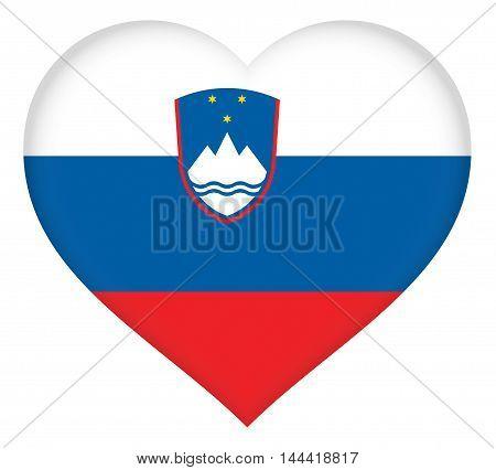 Illustration of the national flag of Slovenia shaped like a heart