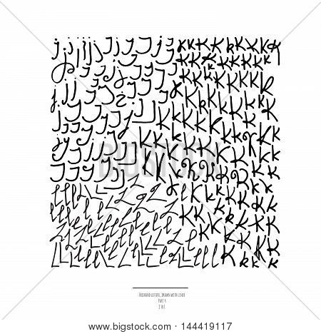 Large vector set of hand drawn with black liner letters isolated on white background. Part 4 includes letter J letter K and letter L. Collection of freehand letters in different shapes and styles