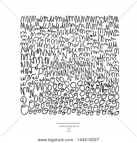 Large vector set of hand drawn with black liner letters isolated on white background. Part 5 includes letter N letter M and letter O. Collection of freehand letters in different shapes and styles