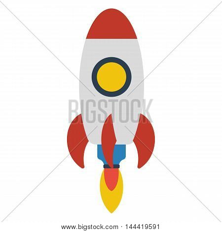 Space rocket flying isolated on white background, flat design colored vector illustration. Spaceship start up and launch symbol. New businesses innovation concept.