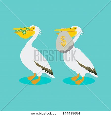 White pelican holding in its beak cash, money bag. Talisman of wealth. The bird brings and protects money.