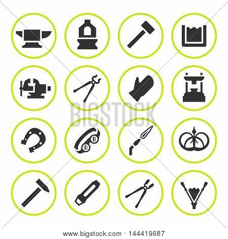 Set round icons of forge isolated on white. Vector illustration