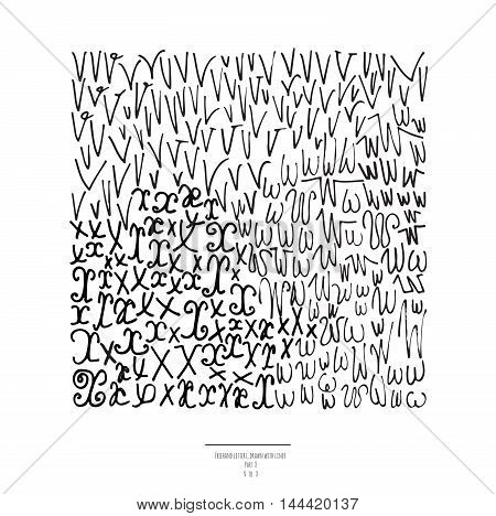 Large vector set of hand drawn with black liner letters isolated on white background. Part 8 includes letter V letter W and letter X. Collection of freehand letters in different shapes and styles