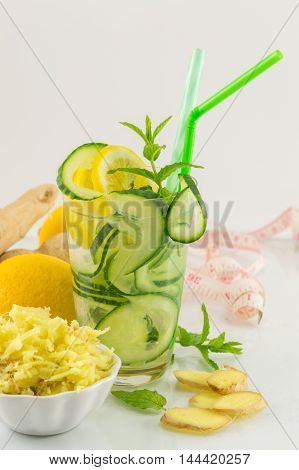 Diet Drink With Ginger, Lemon And Parsley