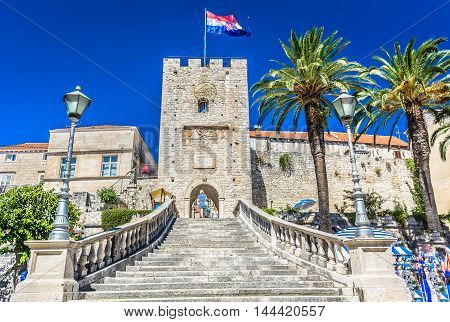 View at Revelin tower, famous landmark in old town Korcula, Croatia Europe.